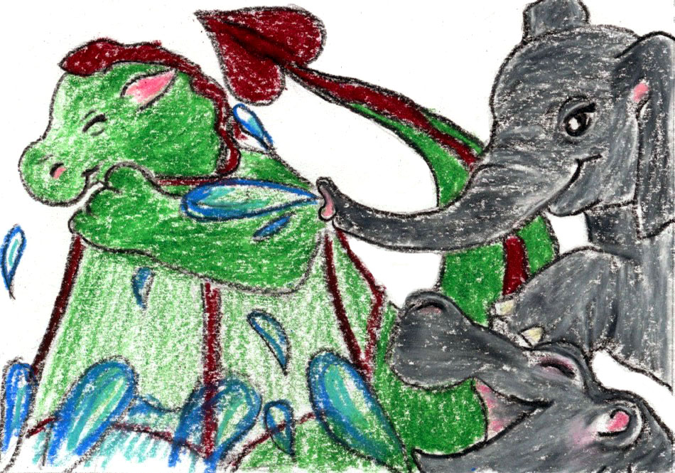 Dragon playing in water with hippo and elephant